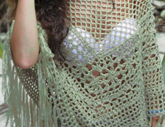 Green Crochet Tassel Detail Poncho Beach Cover Up Choies.com online fashion store United Kingdom Europe