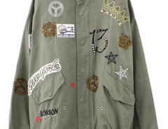 Green Crown And Letter Stud Embellished Drawstring Coat Choies.com online fashion store United Kingdom Europe