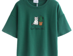 Green Embroidery Letter And Cat Patch Short Sleeve T-shirt Choies.com online fashion store United Kingdom Europe