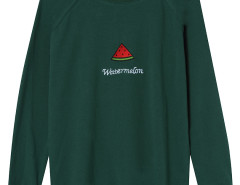 Green Embroidery Watermelon And Letter Pattern Sweatshirt Choies.com online fashion store United Kingdom Europe