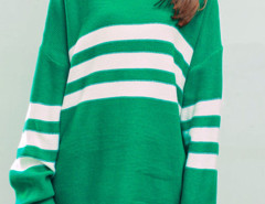 Green High Neck Striped Loose Knitted Jumper Choies.com online fashion store United Kingdom Europe