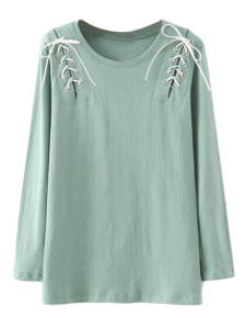 Green Lace Up Detail Long Sleeve T-shirt Choies.com online fashion store United Kingdom Europe