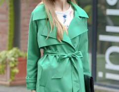 Green Lapel Long Sleeve Belt Waist Longline Trench Coat Choies.com online fashion store United Kingdom Europe