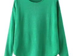 Green Lightweight Long Sleeve Structured Knit Sweater Choies.com online fashion store United Kingdom Europe