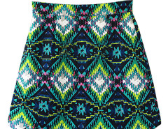 Green Mixed Folk Print Scalloped Hem Skirt Choies.com online fashion store United Kingdom Europe
