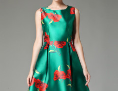 Green Rose Print Sleeveless Skater Midi Skirt Choies.com online fashion store United Kingdom Europe