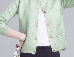 Green Sequin Detail Button Up Long Sleeve Caidigan Choies.com online fashion store United Kingdom Europe