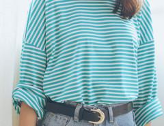 Green Stripe Print Long Sleeve Side Split Loose T-shirt Choies.com online fashion store United Kingdom Europe