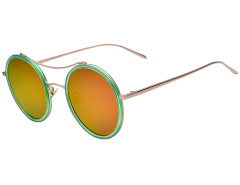 Green Transparent Frame Round Mirror Sunglasses Choies.com online fashion store United Kingdom Europe