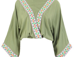 Green V-neck Folk Embroidery Trims Drape Blouse Choies.com online fashion store United Kingdom Europe