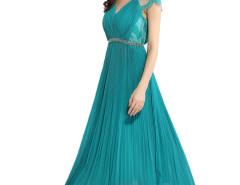 Green V-neck Lace Panel Shoulder Beaded Waist Pleat Prom Dress Choies.com online fashion store United Kingdom Europe