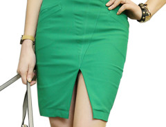 Green Waist Belt Split Front Pocket Bodycon Skirt Choies.com online fashion store United Kingdom Europe