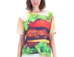 Hamburger Printed Polyester T shirt Carnet de Mode online fashion store Europe France