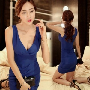 High Quality Hot New Sexy Women Deep V Neck Summer Sleeveless Ruffle Package Hip Dress Bodycon Fitted vest Dress Cndirect online fashion store China