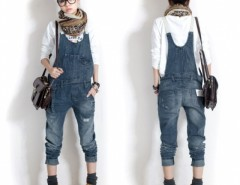 Hot New Women Washed Casual Jumpsuit Romper Overall Jean Frayed Denim Pant EN24H Cndirect online fashion store China