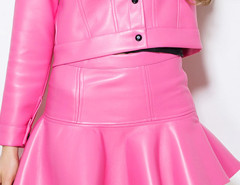 Hot Pink Flounce Hem PU Mini Skirt Choies.com online fashion store United Kingdom Europe