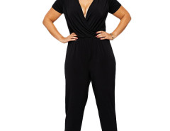 Jollychic Deep V-Neck Plus Size 2XL-6XL Black Jumpsuits Jollychic.com online fashion store China