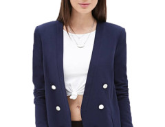 Jollychic Open Placket Double Breasted Long Sleeve Navy Blazer Jollychic.com online fashion store China