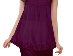 Jollychic Purple 2Pcs Sleepwear O-Neck Top Leisure Shorts Jollychic.com online fashion store China
