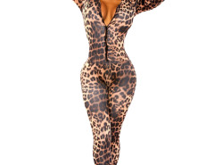 Jollychic V Neck Long Sleeve Leopard Jumpsuit Jollychic.com online fashion store China