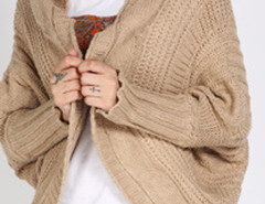 Khaki Batwing Sleeve  Ribbed Trims Drop Shoulder Cable Cardigan Choies.com online fashion store United Kingdom Europe