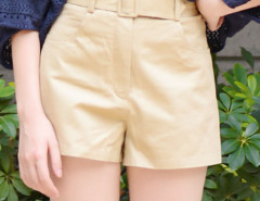 Khaki Belted High Waist Shorts Choies.com online fashion store United Kingdom Europe