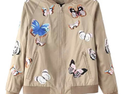 Khaki Butterflies Embroidery Bomber Jacket Choies.com online fashion store United Kingdom Europe