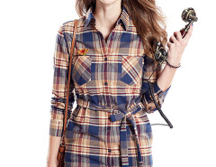 Khaki Contrast Plaid Print Belt Waist Longline Shirt Choies.com online fashion store United Kingdom Europe