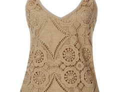 Khaki Floral Crochet Cami Kint Vest Choies.com online fashion store United Kingdom Europe