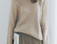 Khaki Hollow Long Sleeve Loose Knit Sweater Choies.com online fashion store United Kingdom Europe