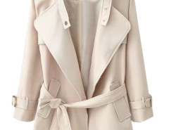 Khaki Lapel Belted Waist Pocket Slim Trench Coat Choies.com online fashion store United Kingdom Europe