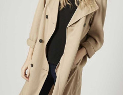 Khaki Lapel Double Breasted Trench Coat Choies.com online fashion store United Kingdom Europe