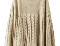 Khaki Long Sleeve Cable Knitted Cloak Sweater Choies.com online fashion store United Kingdom Europe