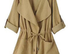 Khaki Roll Up Sleeve Drawstring Waist Hooded Trench Coat Choies.com online fashion store United Kingdom Europe