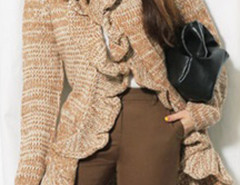 Khaki Ruffle Collar Long Sleeve Cardigan Choies.com online fashion store United Kingdom Europe