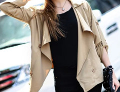 Khaki Waterfall Front Roll Up Sleeve Double Breasted Coat Choies.com online fashion store United Kingdom Europe