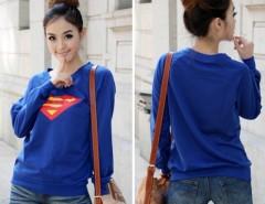 Korea Cute Women Superman Logo Print Round Neck Long Sleeves T-shirt Top Cndirect online fashion store China