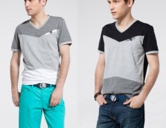 Korea Men Casual Assorted Color Splicing V-neck Short Sleeve T-shirt Top Tee Cndirect online fashion store China
