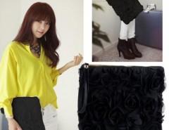 Korea Stylish Casual Women's Lace Rose Pattern Clutch Handbag Cndirect online fashion store China
