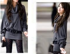 Korea Women Ruff Neckline Long Sleeve T-Shirt Tops 2 Colors Cndirect online fashion store China