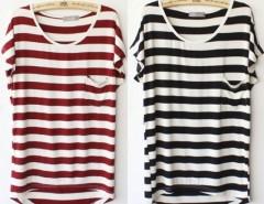 Korea Women Summer Stripe Pocket Short Sleeve Casual Loose T-shirt Tops Cndirect online fashion store China