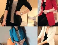 Korea Women's Fashion Medium Style Slim Suit Blazer Jacket Padded Shoulder Coat Cndirect online fashion store China