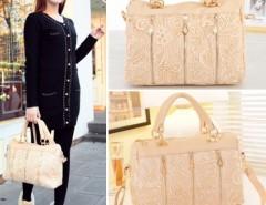 Korean Women Lace Handbag PU Leather Messenger Bag Tote Shoulder Bag Cndirect online fashion store China