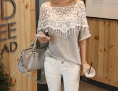 Lace Cutout Shirt Women Handmade Crochet Cape Collar Batwing Sleeve T-shirt Cndirect online fashion store China
