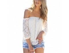 Lace Hollow Yarn Women's Blouse chiffon White Boat Neck T-shirt Cndirect online fashion store China