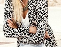 Leopard Print Collarless Long Sleeve Blazer Choies.com online fashion store United Kingdom Europe