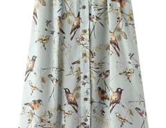 Light Blue Bird Print Button Front A-line Skirt Choies.com online fashion store United Kingdom Europe