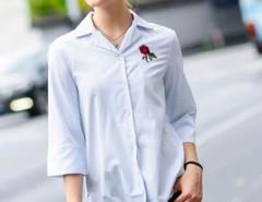 Light Blue Embroidery Rose Dipped Hem 3/4 Sleeve Shirt Choies.com online fashion store United Kingdom Europe