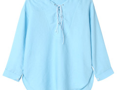 Light Blue Lace Up Front 3/4 Sleeve Dipped Back Blouse Choies.com online fashion store United Kingdom Europe