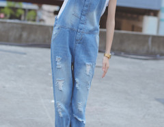 Light Blue Pocket Detail Ripped Denim Overalls Choies.com online fashion store United Kingdom Europe